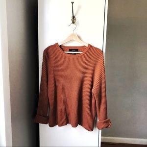 Forever21 burnt orange ribbed knit sweater